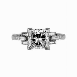 Princess Cut Single Stone With Baguette Shoulders 2.36ct IVVS2 HRD